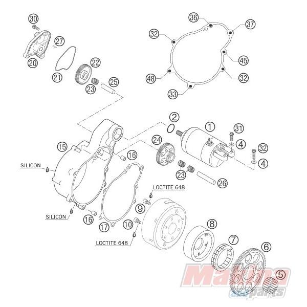 58540042000 Starter Flange Gasket KTM LC-4 640 '03-'06