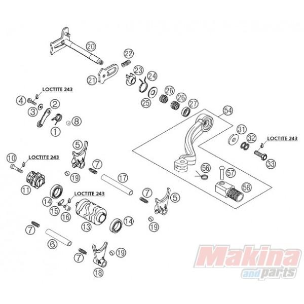 54734031000 Shift Lever Cpl. KTM EXC-125/250/300 SX-125