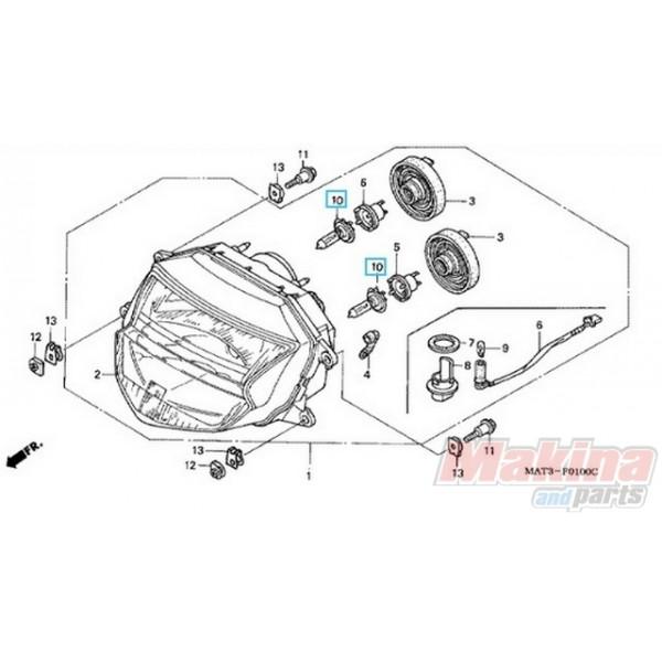 Headlight Bulb 12V 55W (H7) Honda CB-600 CBF-600-1000 CBR