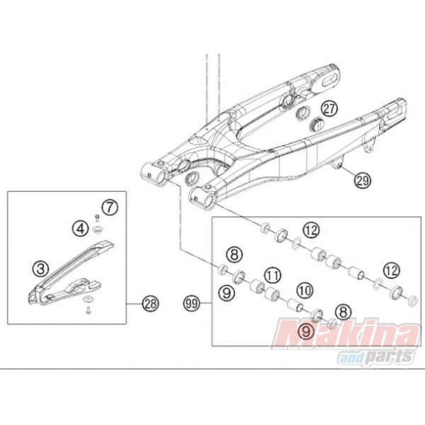 77204066000 Chain Sliding Protection KTM SX-F '11-'13