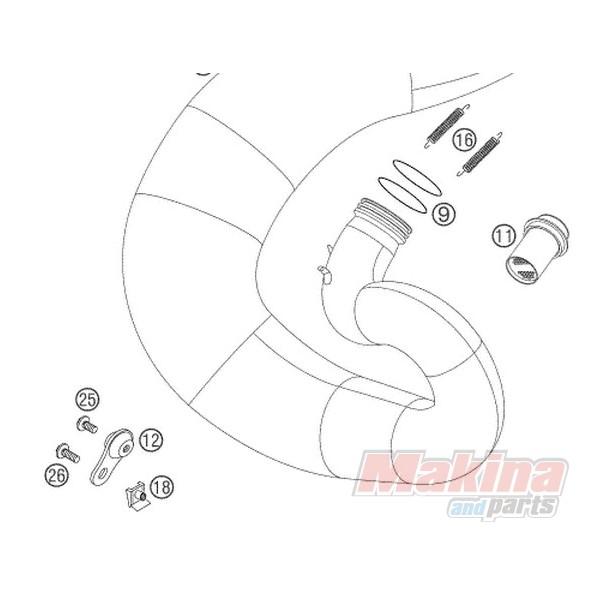 50305012000 Βάση Εξάτμισης KTM EXC-SX 2T '99-'13