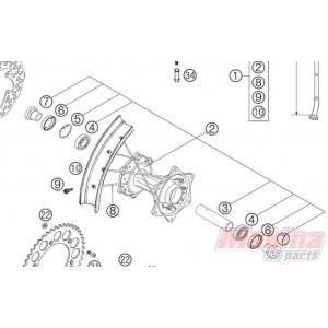 5481001004496 Rear Wheel Hub Cpl KTM EXC-SX '03-'05