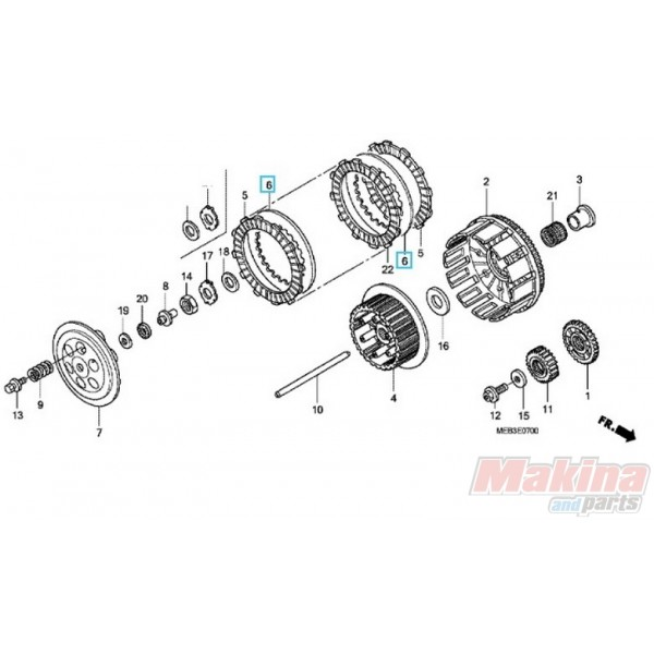 22321KZ3690 Clutch Steel Plate Disc Honda CRF-450R-X