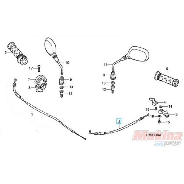 17950KPH900 Cable Comp. Choke Honda ANF-125 Innova '03-'06