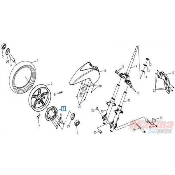 45121LEA000SO Δισκόπλακα Εμπρός Sym Citycom-300i