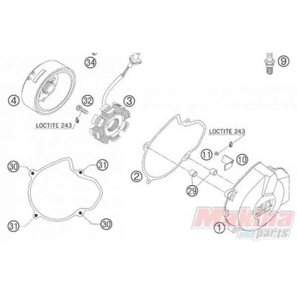 59030002000 Καπάκι Βολάν KTM EXC-250-450-525 '00-'07