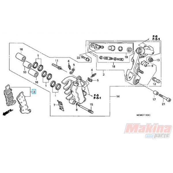 06456MCWH02 Front Left Brake Pads Honda VFR-800 '06-'09