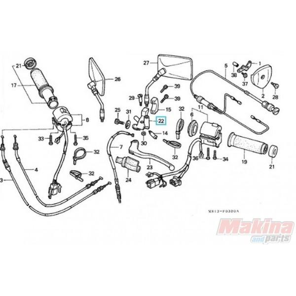 53172MR1000 Βάση Μανέτας Συμπλέκτη Honda VT-400-600 Steed