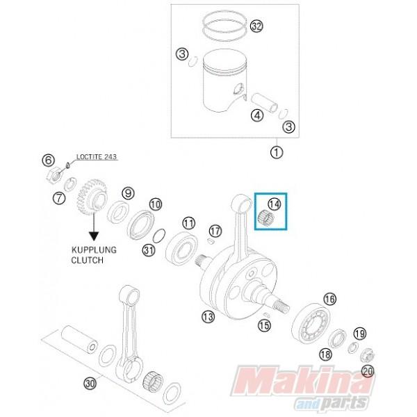 54430034000 Needle Bearing KTM EXC-SX-250 '98-'13