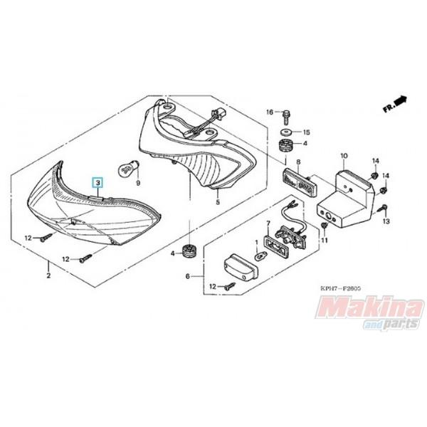 33702KPH971 Rear Taillight Lens Honda ANF-125 Innova '03-'06