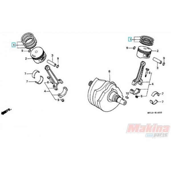 13012MV1305 Piston Rings 0.25 Oversize Honda XRV-750