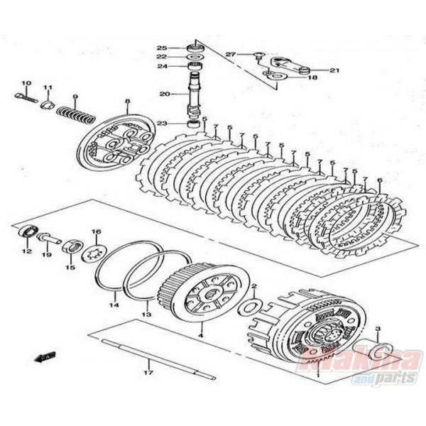 2144129F00SET Clutch Drive Fiber Plates Set Suzuki DRZ-400