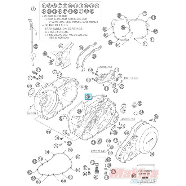 58530039400 Engine Case Gasket KTM LC4-640 '98-'07