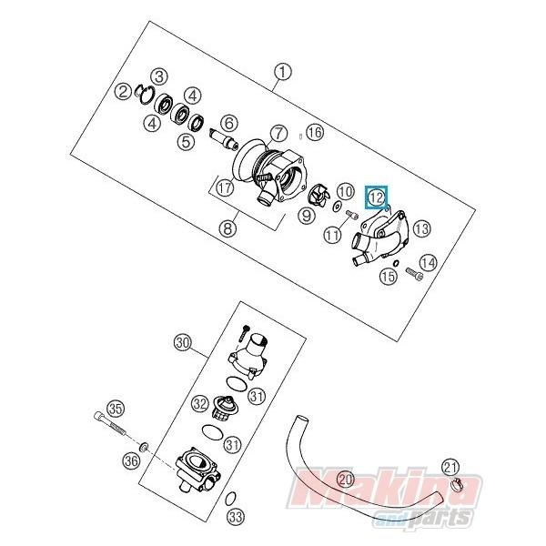 56535003300 Water Pump Cover Gasket KTM LC4 640