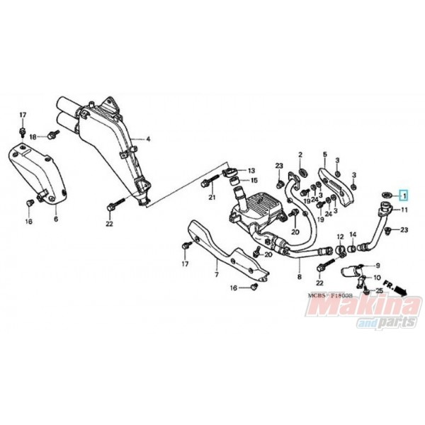 18291MM5860 Gasket Exhaust Pipe Honda XL-650V Transalp