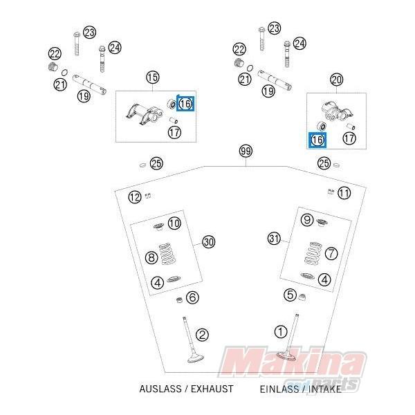 59036061091 Rocker Arm Roller In. Ex. KTM EXC-400-450-530
