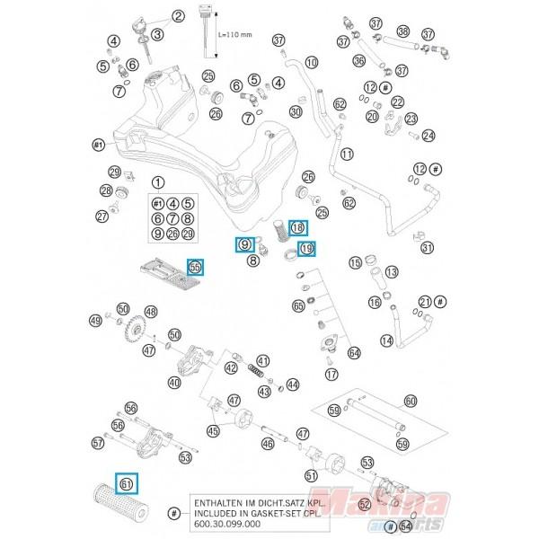 00050000065 Φίλτρο Λαδιού Σετ KTM LC8-950-990
