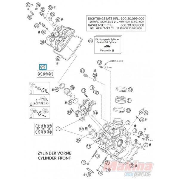 60036099000 Valve Cover Gsket Set Fr+Rr KTM LC8