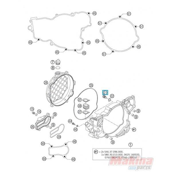 58030021100 Τάπα Εξαγωγής Λαδιού KTM EXC-SX-LC 4- LC8
