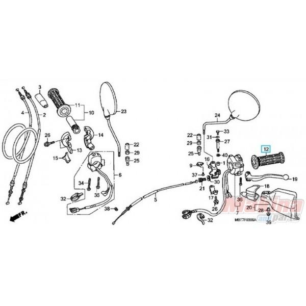53166ML7000 Χειρολαβή Αριστερή Honda XL-1000V Varadero