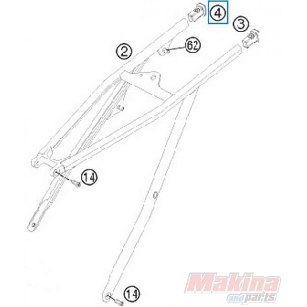 78003002020 Sub Frame Application Right KTM EXC-SX '08-'13