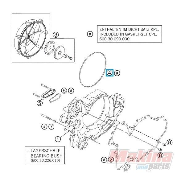 60030027000 O'Ring Καπακιού Συμπλέκτη KTM LC8-950-990