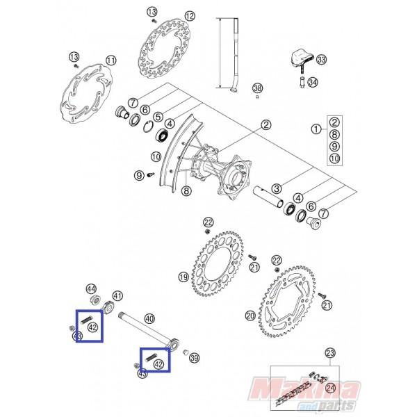 50304040100 Βίδα Ρεγουλατόρου Αλυσίδας KTM M10X1.25