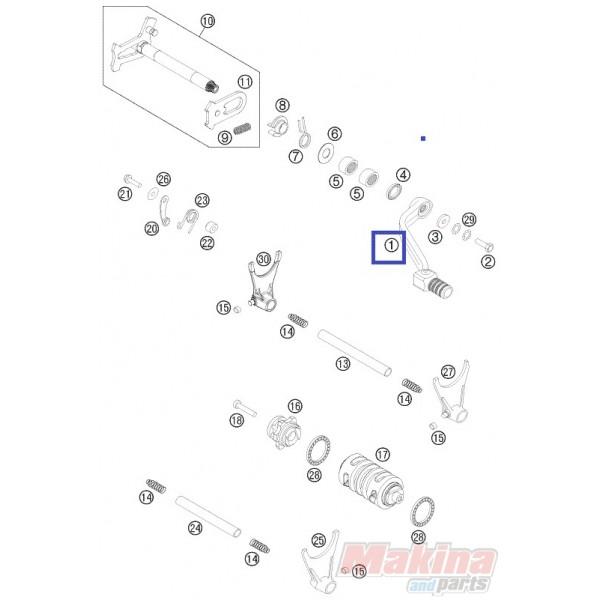 Shift Lever Cpl. KTM EXC SX 4t