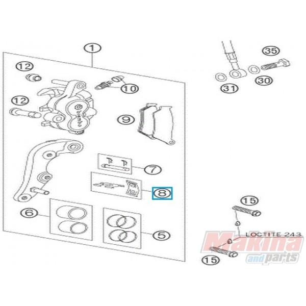 54613212000 Λαμάκια-Ελατήρια Εμπρ. Δαγκάνας KTM EXC-SX LC4 640