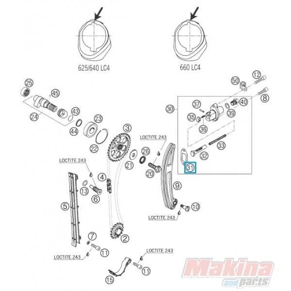 58036005100 Φλάντζα Τεντωτήρα Καδένας Εκκεντ. KTM LC4-640
