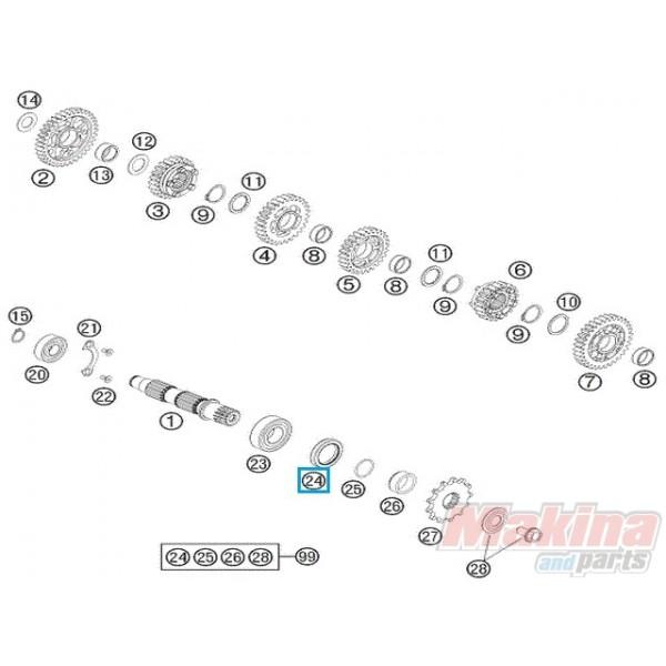 0760324771 Τσιμούχα Αξονα Γραναζιού KTM LC4-640