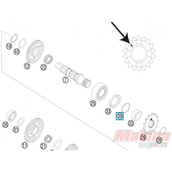 0770250020 O'ring Αξονα Γραναζιού KTM EXC-SX 125/200/250/300