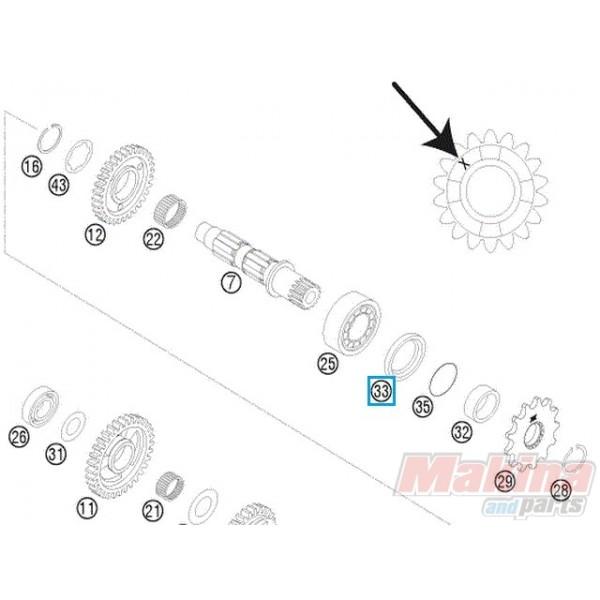 0760324571 Τσιμούχα Αξονα Γραναζιού KTM EXC EXC-F SX SX-F