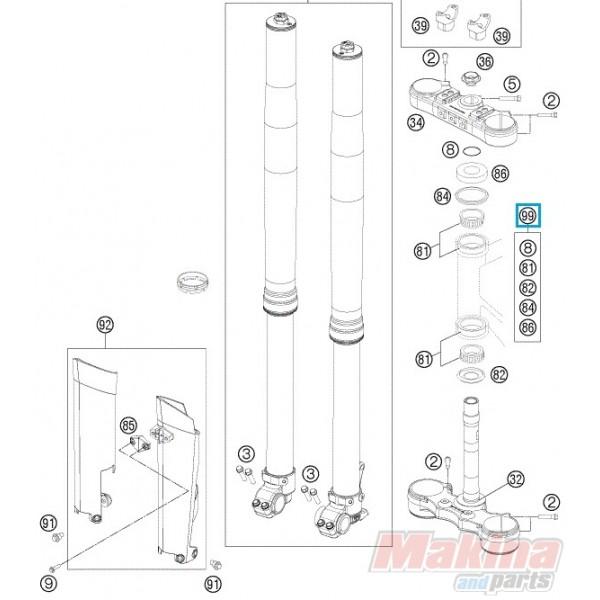 00050000930 Ρουλεμάν Λαιμού Τιμονιού Σετ KTM EXC-SX-LC 4