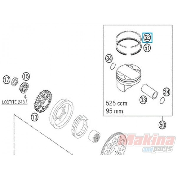 59030032000 Rectangular Ring KTM EXC-SX 520-525