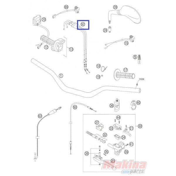 53-110043 PROX Throttle Cable 'Open-Close' KTM EXC-450-525