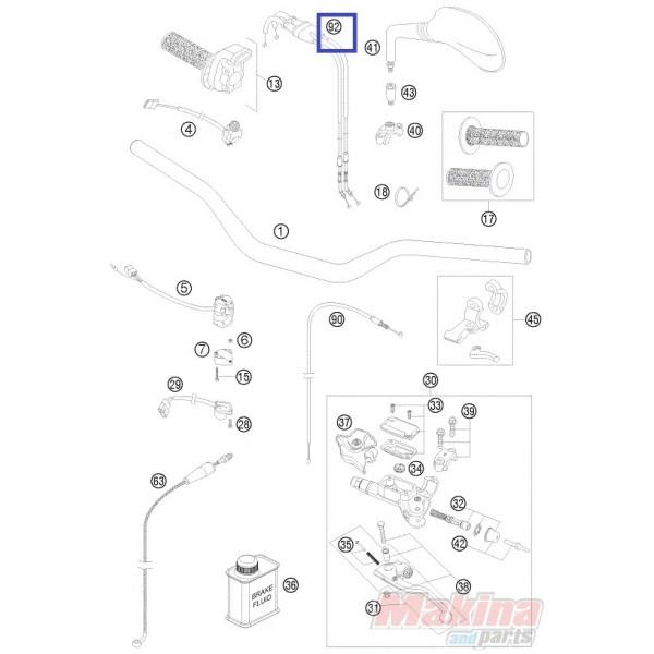 53-110045 PROX Throttle Cable 'Open-Close' KTM SXF-250-350-450