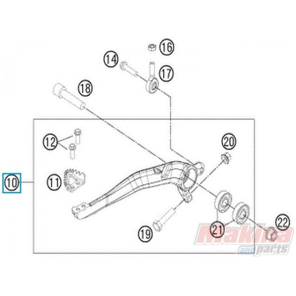 77213050044 Foot Brake Lever Cpl. KTM EXC-EXCF-SX-SXF
