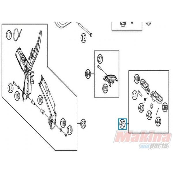 78003040033 Footrest L/S + R/S Cpl. KTM EXC '09-'15 SX '14-'15