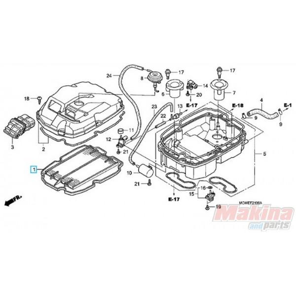 17210MCWD01 Air Filter Honda VFR-800