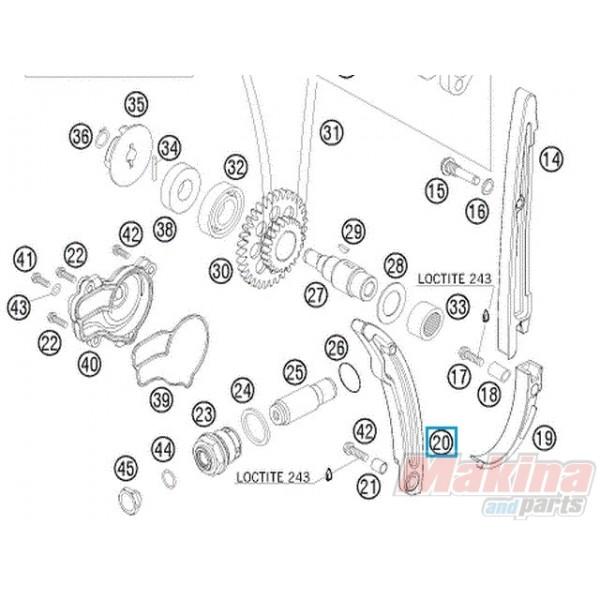 77036002000 Γλύστρα Τεντωτήρα Καδένας Χρονισμού KTM EXC-F