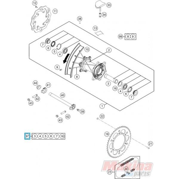 77710015010 Rear Wheel Repair Kit KTM SX/SX-F '13-'16