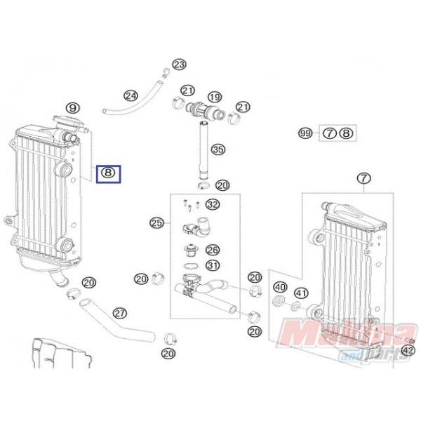 54835008400 Radiator Right KTM EXC-SX '11-'16