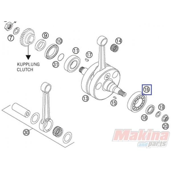 56530123200 Ρουλεμάν Στροφάλου KTM EXC-250-300 '98-'16