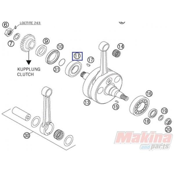 0625623204 Crankshaft Bearing KTM EXC-250-300 '04-'16