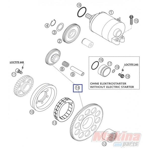 59040020244 Free Wheel + Reduction Gear KTM EXC-250-400