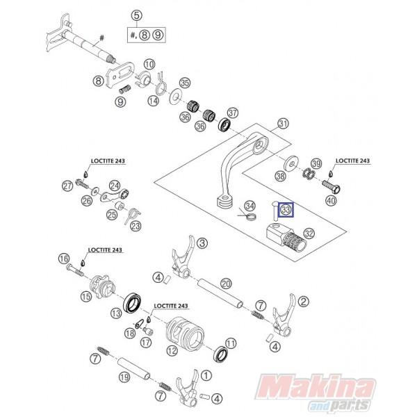 54634031050 Πειράκι Λεβιέ Ταχυτήτων KTM EXC-SX-SXF & LC4