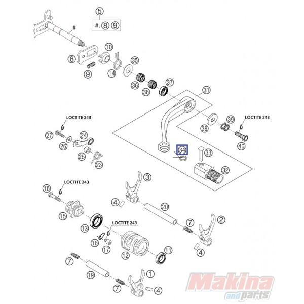 54634032100 Ελατήριο Λεβιέ Ταχυτήτων KTM EXC-SX-SXF & LC4