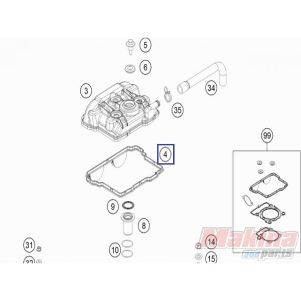 77236053000 Valve Cover Gasket KTM EXC-F 350 & SX-F 350