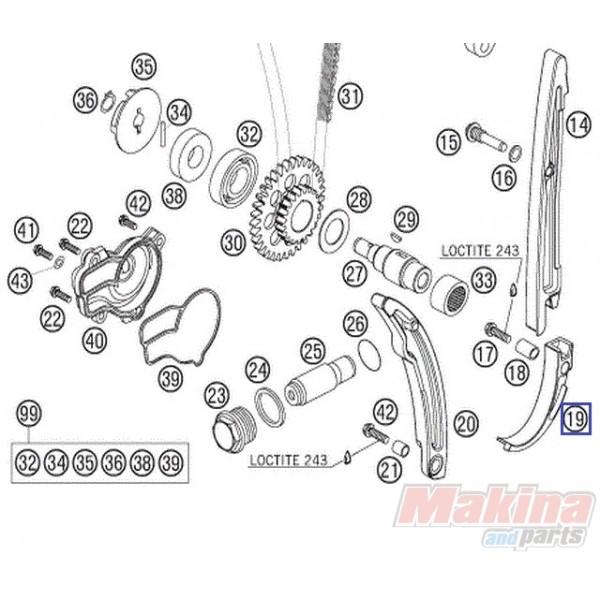 77036005000 Κάτω Γλύστρα Καδένας Χρονισμού KTM EXC-F 250